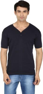 SBN Printed Men's Henley Blue T-Shirt