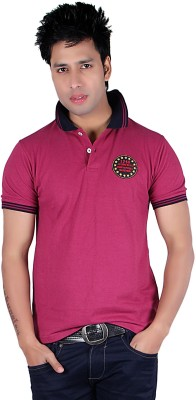 Austin Wood Solid Men's Polo Neck Pink T-Shirt