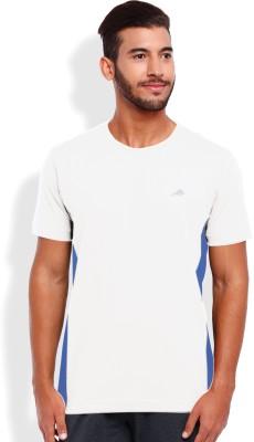 2go Solid Men's Round Neck White, Blue T-Shirt