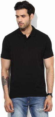 Tripr Solid Men's Polo Neck Black T-Shirt