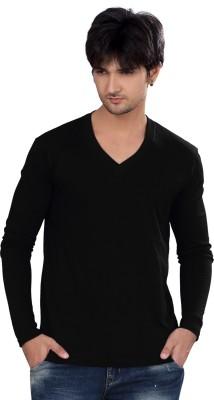 Elegance Cut Solid Men's V-neck Black T-Shirt