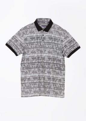 Arrow Newyork Printed Men's Polo White, Black T-Shirt