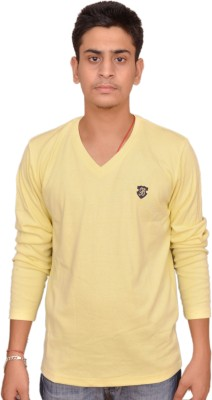 Plus Store Solid Men's V-neck Yellow T-Shirt