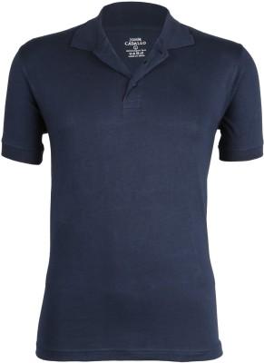 John Caballo Solid Men's Polo Dark Blue T-Shirt