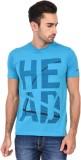 Head Self Design Men's Round Neck Blue T...