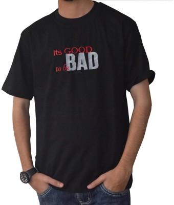 Art-Tickles Embroidered Men's Round Neck Black T-Shirt