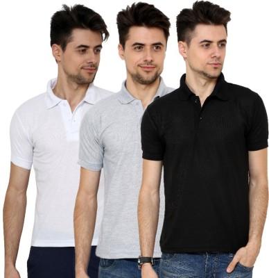 Grand Bear Solid Men's Polo Neck White, Black, Grey T-Shirt