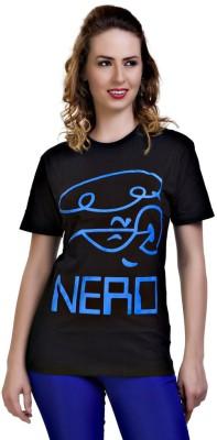 Dexter Graphic Print Women's Round Neck Black T-Shirt