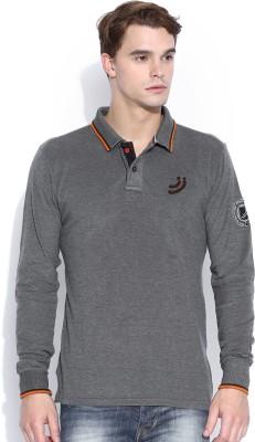Jn Joy Solid Men,s Polo Neck Grey T-Shirt