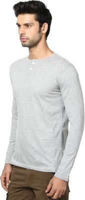La Rochelle Solid Men's Henley Grey T-Shirt