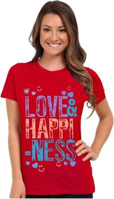So Sweety Graphic Print Women's Round Neck Red T-Shirt