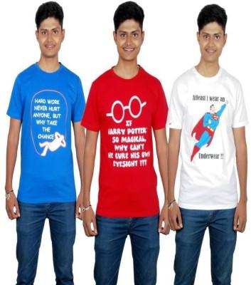 Molecules Printed Men's Round Neck Blue, Red, White T-Shirt