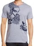 ANGI Graphic Print Men's Round Neck Grey...