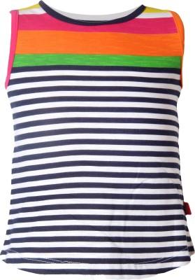 VITAMINS Striped Girl's Round Neck Dark Blue T-Shirt