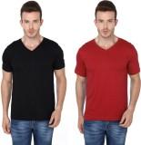 Meedo Solid Men's V-neck Black, Red T-Sh...