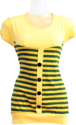 Revinfashions Solid Women's Round Neck Yellow T-Shirt