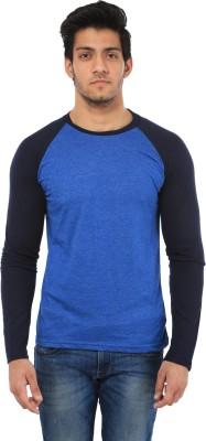 Five Stone Solid Men's Round Neck Blue T-Shirt