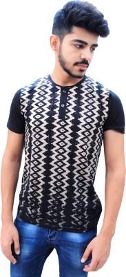 BK Black Printed Men's Round Neck Black T-Shirt