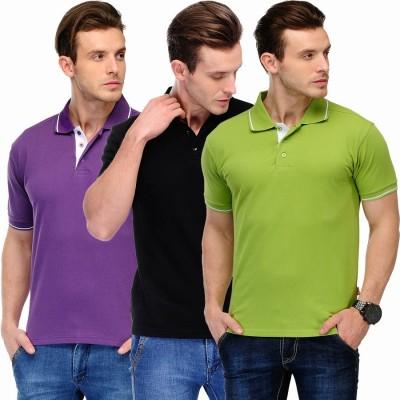 Scott International Solid Men's Polo Purple, Black, Green T-Shirt
