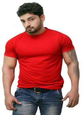 Pikcart Solid Men,s, Boy's Round Neck Red T-Shirt