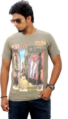 Stylefox Graphic Print Men's Round Neck Beige, Orange T-Shirt