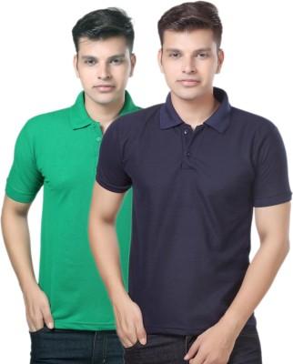 eSOUL Solid Men's Polo Neck Dark Blue, Green T-Shirt