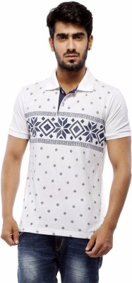 Trendy Bandey Printed Men's Peter Pan Collar White T-Shirt