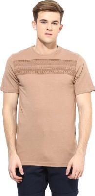 Atorse Printed Men's Round Neck Brown T-Shirt