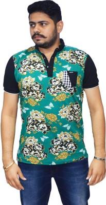 Navratna Nxt Floral Print Men,s Flap Collar Neck Green T-Shirt