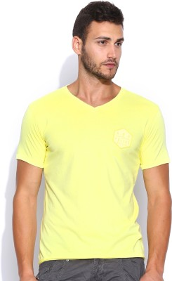 883 Police Solid Men's V-neck Yellow T-Shirt