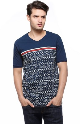 Fasnoya Printed Mens V-neck Blue T-Shirt
