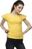 Adam n Eve Solid Women's V-neck Yellow T...