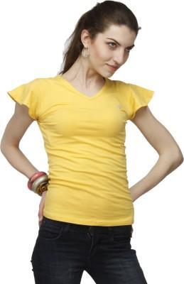 Adam n Eve Solid Women's V-neck Yellow T-Shirt