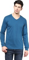 Izinc Solid Men's V-neck Light Blue T-Shirt
