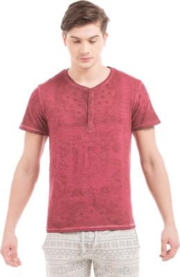 Shuffle Printed Men's Round Neck Brown T-Shirt