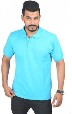 Woodside Solid Men's Polo Blue T-Shirt