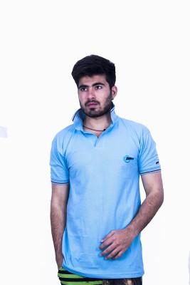 Khaiber Solid Men's Peter Pan Collar Light Blue T-Shirt