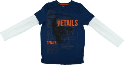 Parv Collections Printed Boy,s Round Neck Blue T-Shirt