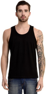 Mimoda Solid Men's Round Neck Black T-Shirt