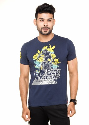 Menthol Printed Men's Round Neck Dark Blue T-Shirt