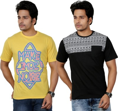 Eco Trend Printed Men's Round Neck Yellow, Black T-Shirt