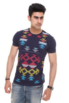 Colors and Blends Geometric Print Men,s Round Neck Blue T-Shirt