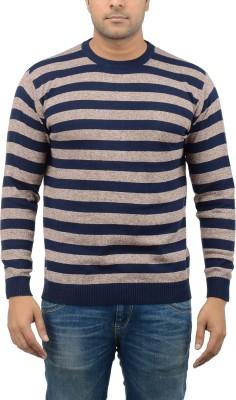 Blue Heaven Striped Men's Round Neck Grey, Dark Blue T-Shirt