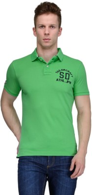 Tailor Craft Solid Men's Polo Neck Green T-Shirt
