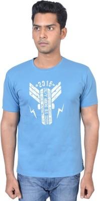 PETROFICIO Printed Men's Round Neck Blue T-Shirt