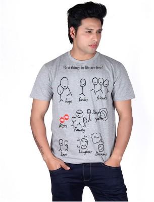 BORNIFY Printed Men's Round Neck Grey T-Shirt