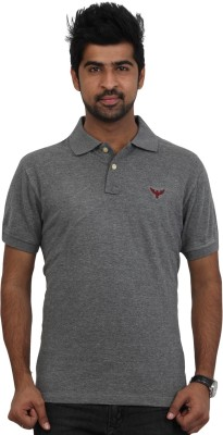 Police Solid Men's Polo Neck Grey T-Shirt