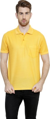 Freak,N by Cotton County Solid Men's Polo Yellow T-Shirt