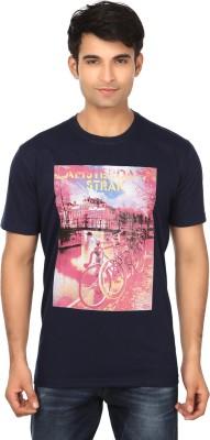Strak Printed Men's Round Neck Dark Blue T-Shirt