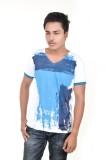 Spur Printed Men's V-neck White T-Shirt